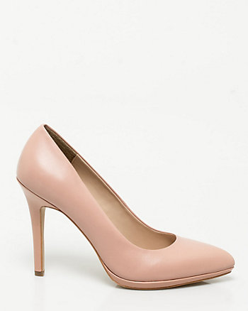 Leather Platform Pointy Toe Pump