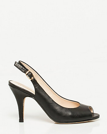 Leather-Like Slingback Pump