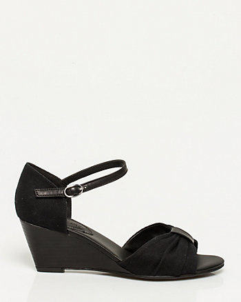 Canvas Ankle Strap Wedge