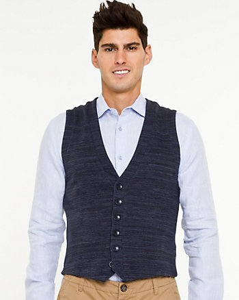 Cotton Blend V-Neck Vest