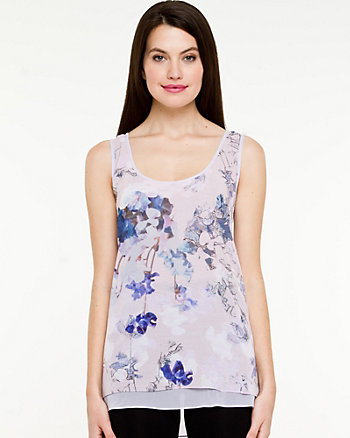 Floral Chiffon Sleeveless Blouse
