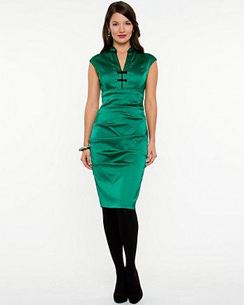 Matte Satin V-Neck Dress