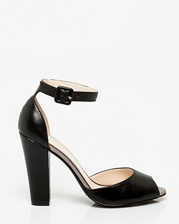 Leather-Like Ankle Strap Pump