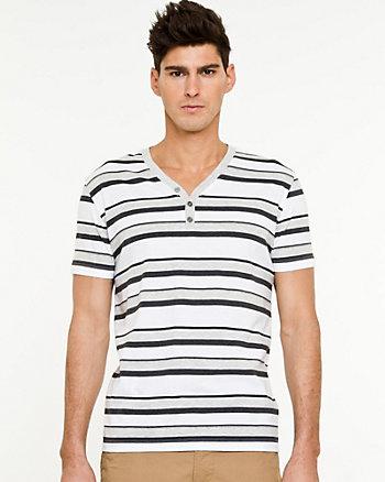 Stripe Knit Henley T-shirt