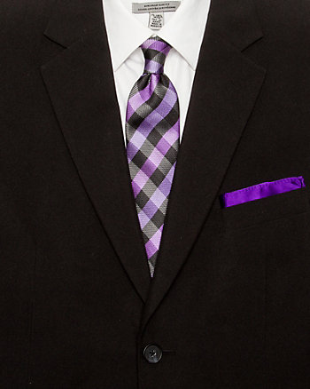 Microfibre Check Tie & Pocket Square Set