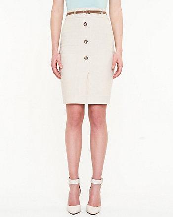 Linen Blend Belted Skirt