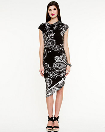 Paisley Print Scoop Neck Dress