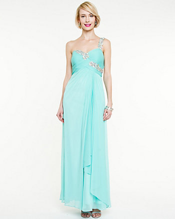 Knit Jewel Embellished One Shoulder Gown