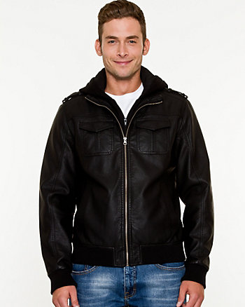 Leather-Like Hooded Bomber