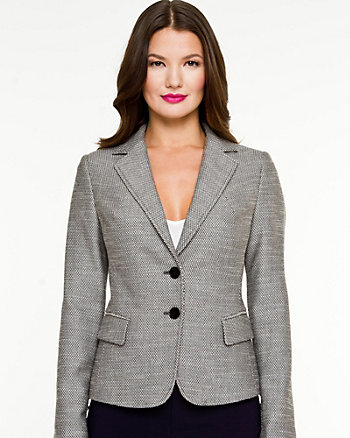 Birdseye Pattern Notch Colar Blazer