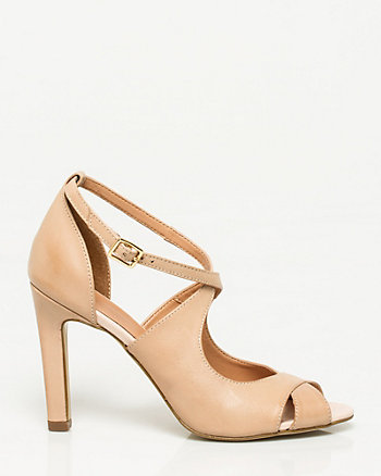 Leather Strappy Peep Toe Sandal