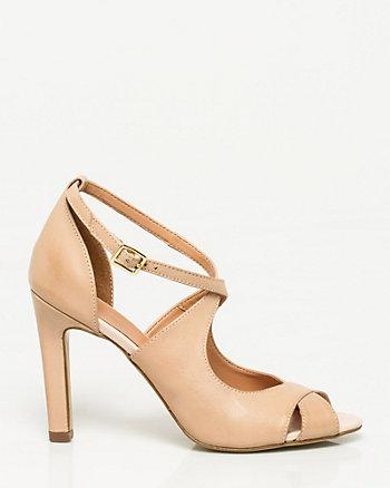 Sandale à bout ouvert en cuir