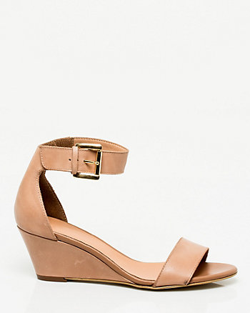Leather Ankle Strap Wedge