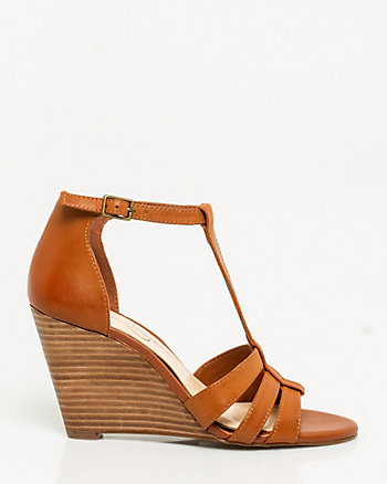 Leather T-strap Wedge