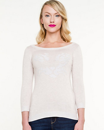Cat Print Scoop Neck Sweater