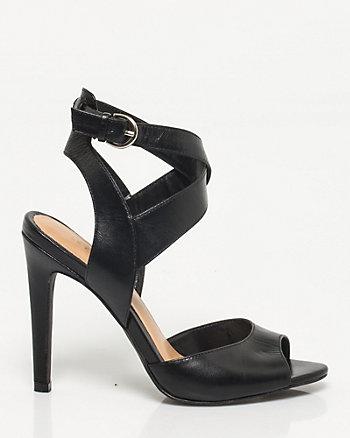 Sandale à talon haut en cuir