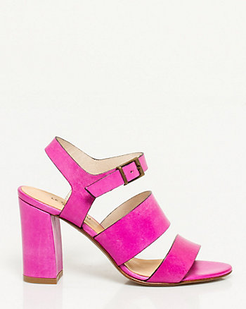 Italian Made Leather Block Heel Sandal