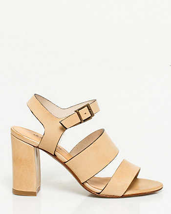 Italian Made Leather Block Heel Sandal