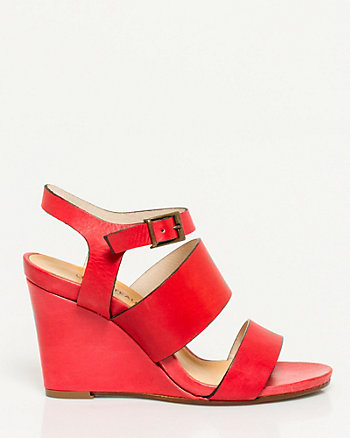 Italian Made Leather Strappy Wedge