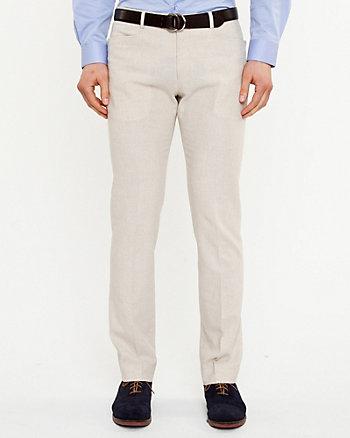 Pantalon à jambe étroite en mélange de lin