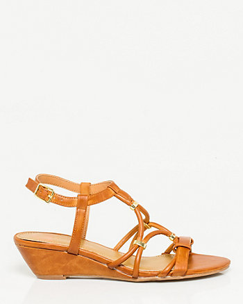 Studded Leather-Like Wedge Sandal