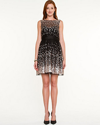 Sequin Illusion Mini Dress