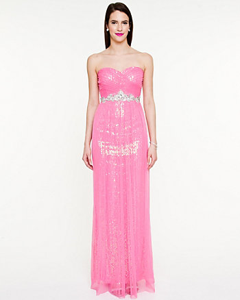 Sequin Sheer Knit Sweetheart Gown