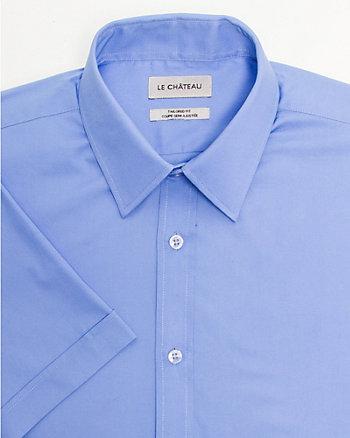 Chemise à manches courtes en popeline extensible