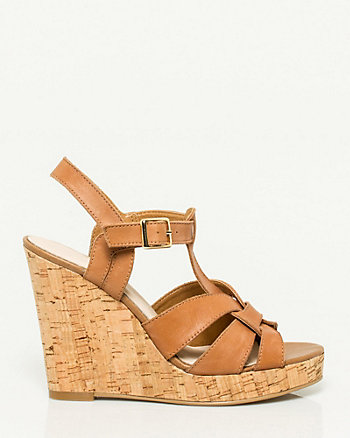 Faux Leather Strappy Cork Wedge