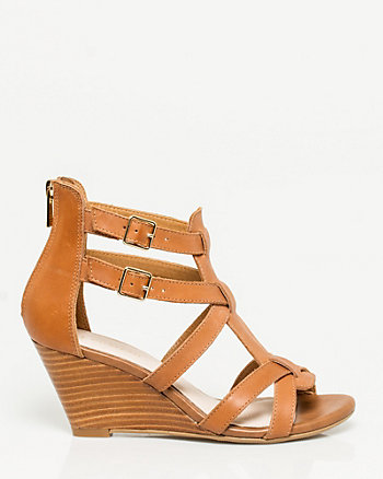 Leather Strappy Wedge