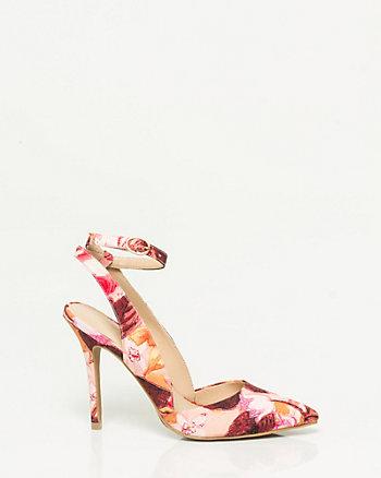 Floral Ankle Strap Pump