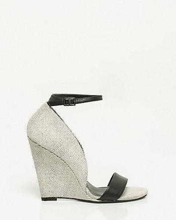 Sandale à bride de cheville et talon compensé