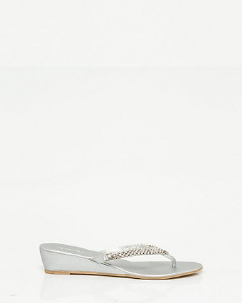 Metallic Wedge Thong Sandal