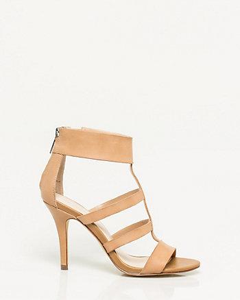Sandale à bride axiale en cuir