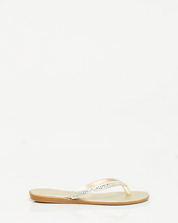 Faux Leather Metallic Flip Flop