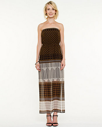 Patchwork Print Chiffon Maxi Dress