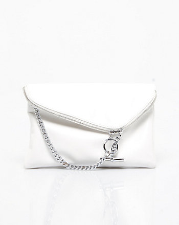 Leather-Like Flapover Bag