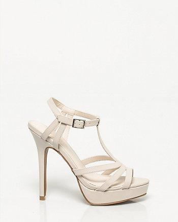 Faux Leather T-strap Platform Sandal