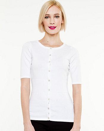 Cotton Blend 3/4 Sleeve Cardigan