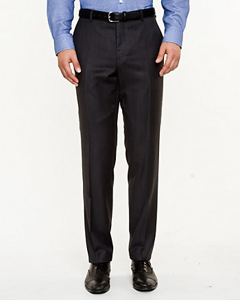 Check Print Wool Straight Leg Pant