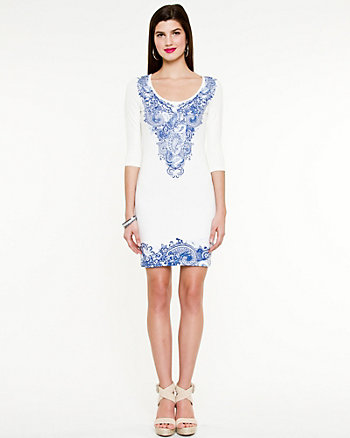 Paisley Print Scoop Neck Dress