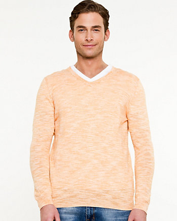 Slub Cotton V-Neck Sweater