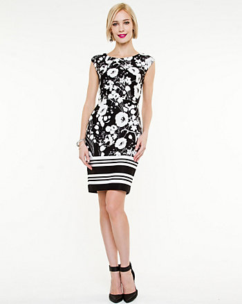 Ponte Print Fitted Dress