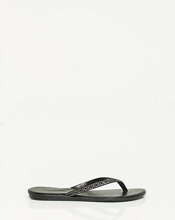 Jewel Encrusted Leather-Like Thong