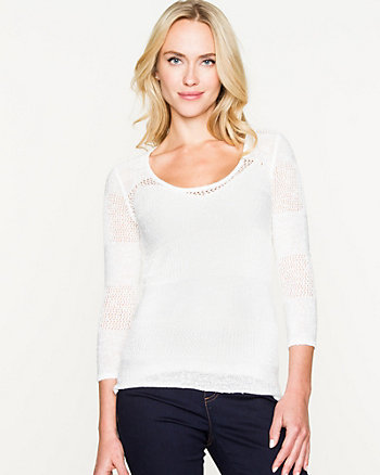 Open-Stitch Scoop Neck Sweater