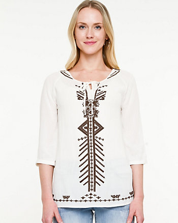 Gauze Embroidered Peasant Blouse