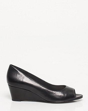 Leather Peep Toe Wedge