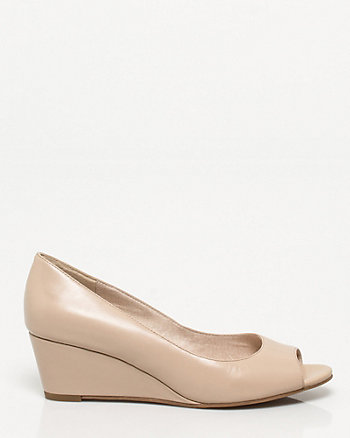 Leather Peep Toe Wedge