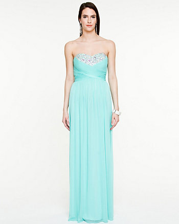 Sheer Knit Jewel Encrusted Sweetheart Gown