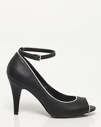 Faux Leather Peep Toe Pump